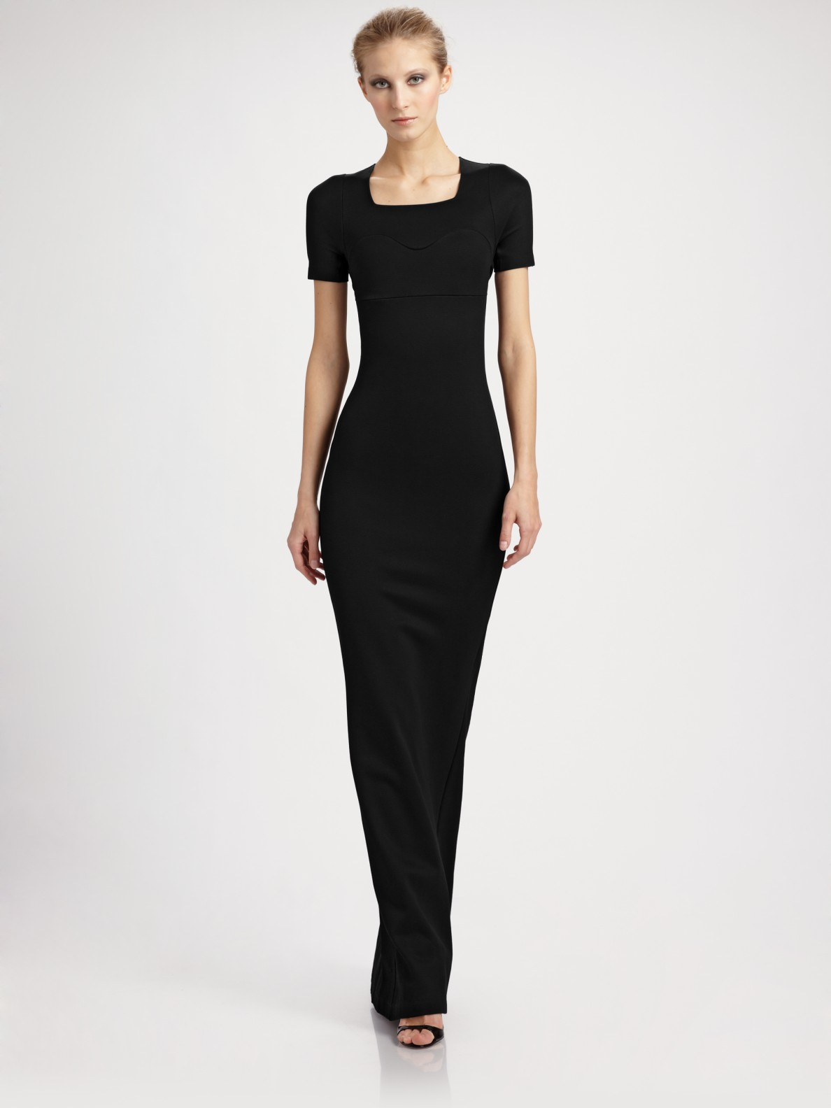 Jil sander Fitted Long Jersey Dress in Black | Lyst