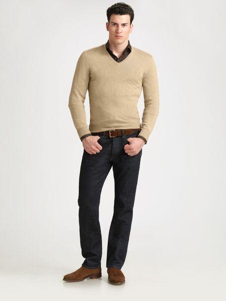 Black label cashmere v neck sweater in beige for men camel lyst