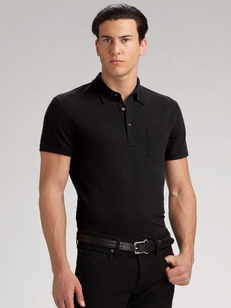 Ralph lauren black label refined mesh polo shirt in black for Ralph lauren black label polo shirt