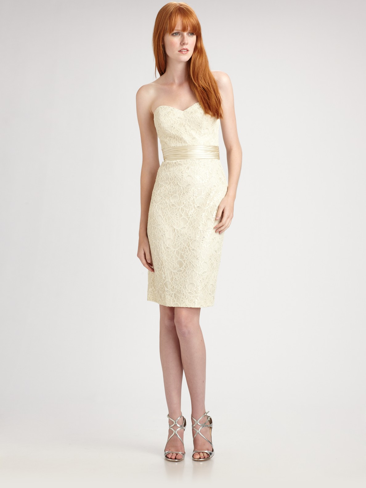 Theia Strapless Lace Cocktail Dress In White Ivory Lyst