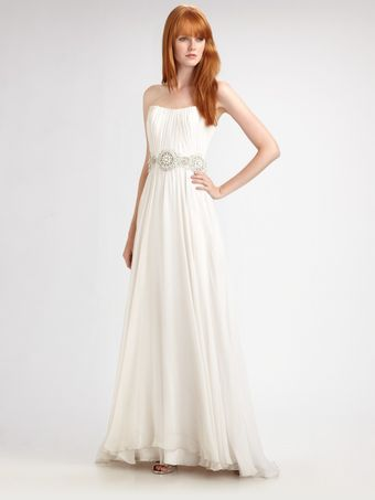 Theia Beaded Silk Chiffon Strapless Gown - Lyst