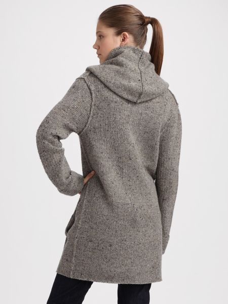 Vince Hooded Sweater Coat In Gray Lyst