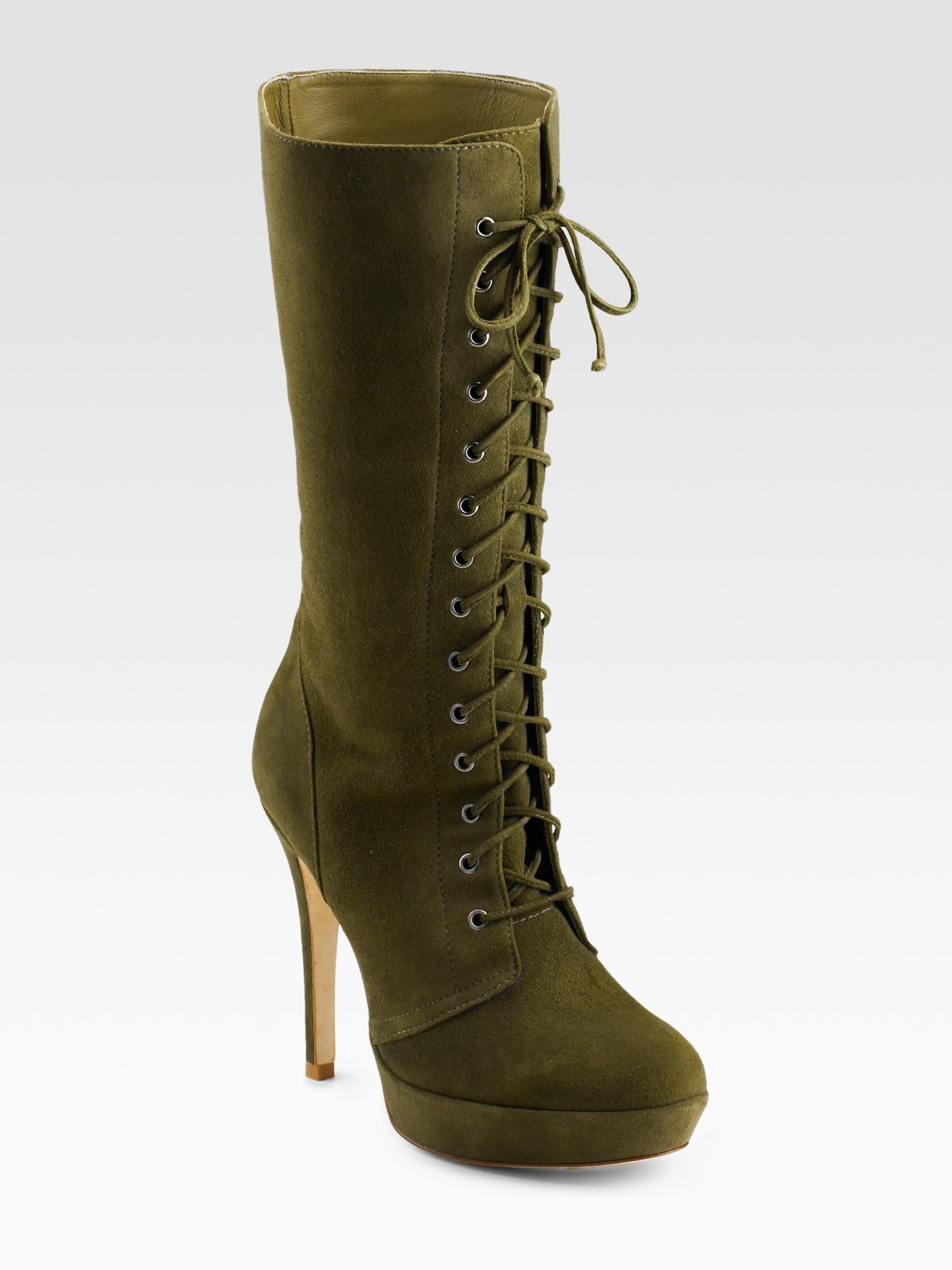 Alexandre Birman Lace Up Suede Boots In Green Lyst