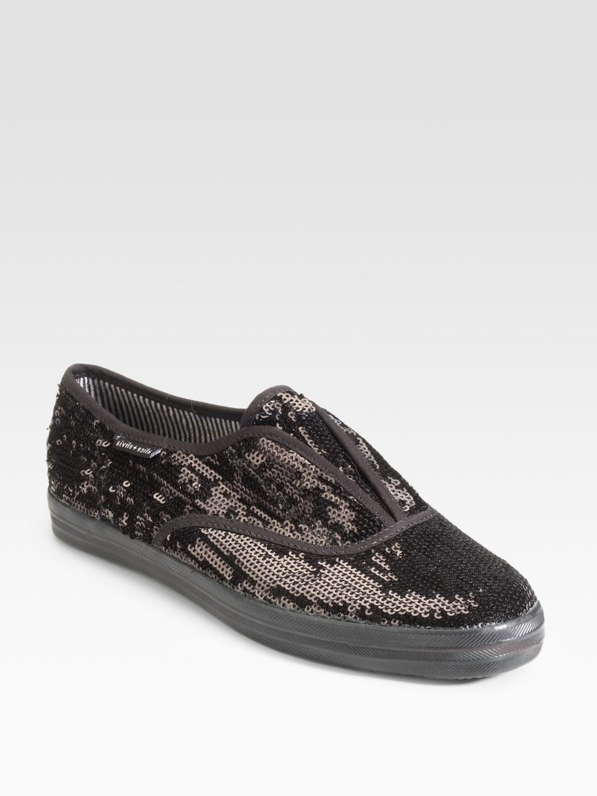 sequin keds sneakers in black lyst