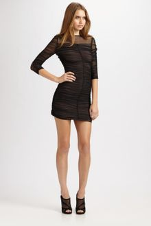 BCBGMAXAZRIA Shirred Tulle Dress - Lyst