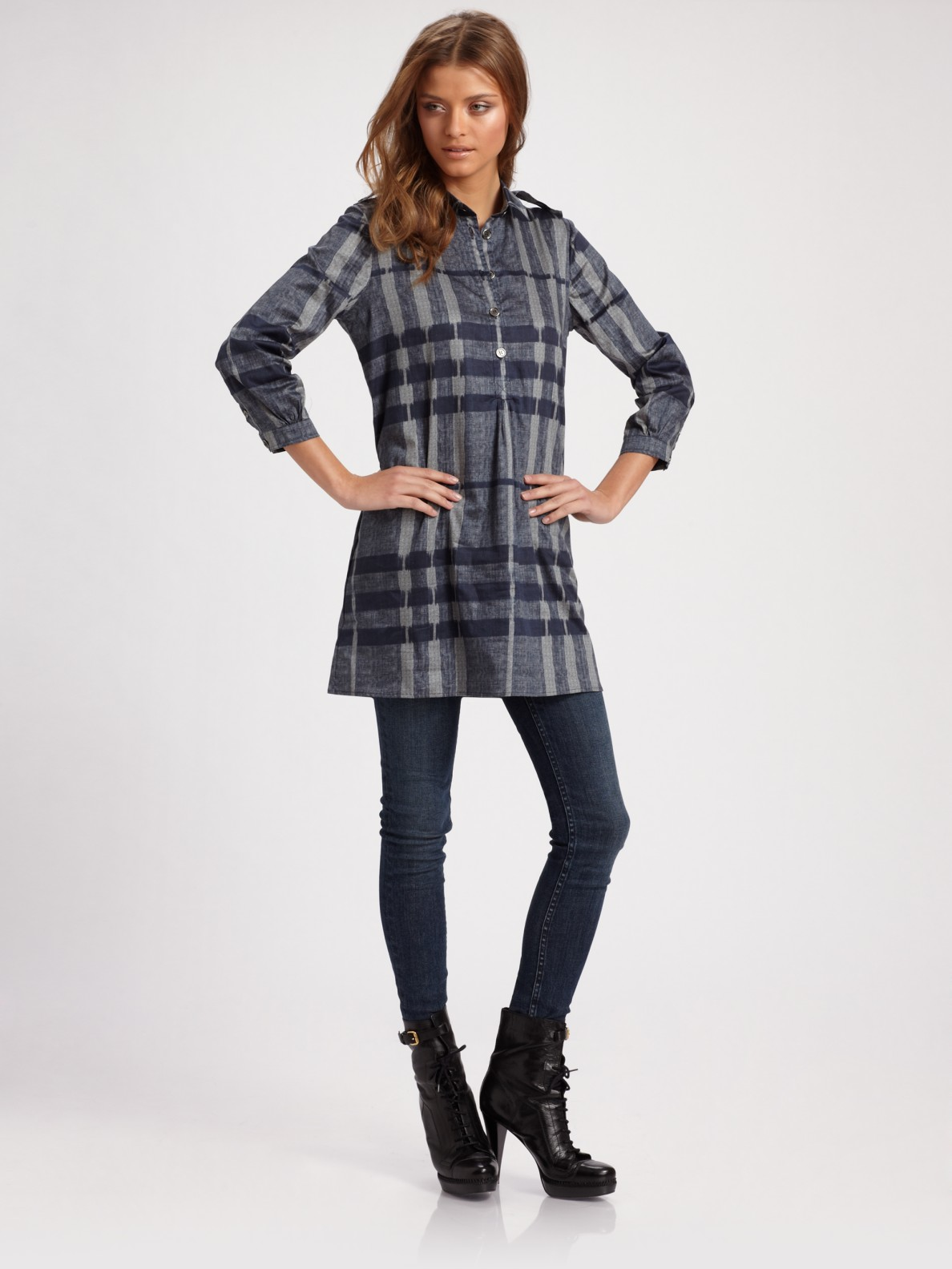 c9047c5aad4 Burberry Brit Check Tunic Top in Blue - Lyst