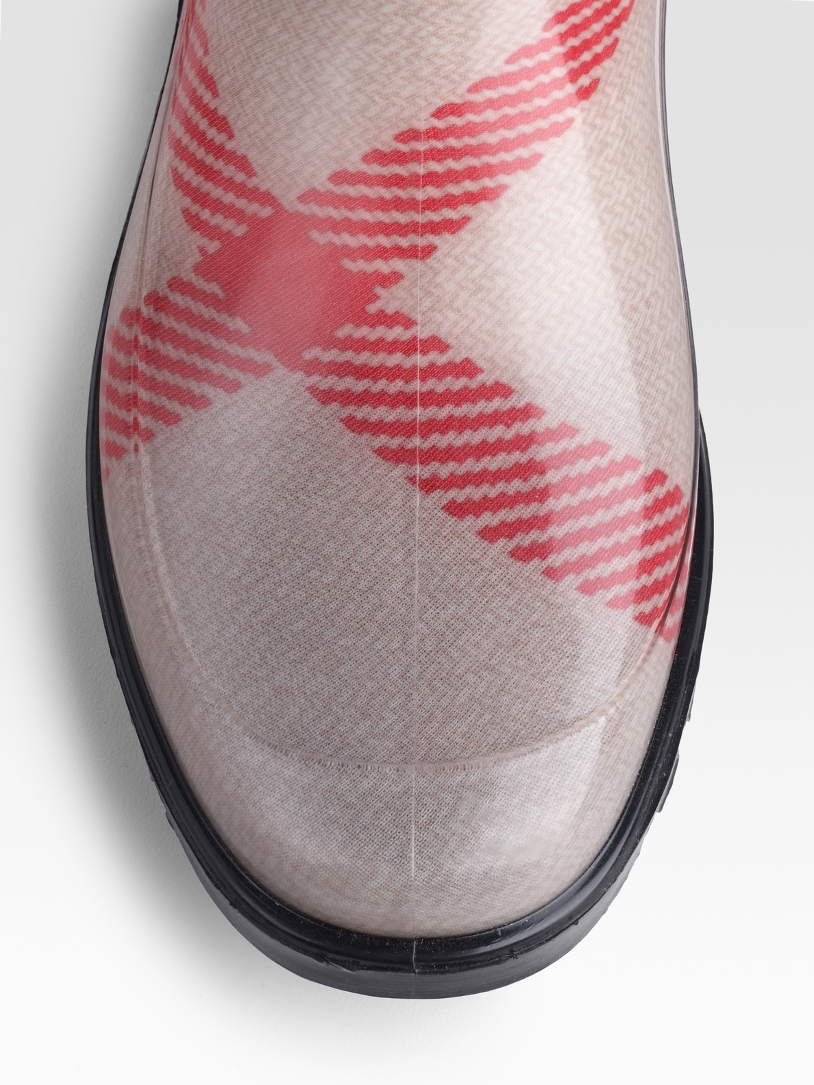 Lyst Burberry Check Rain Boots In Pink
