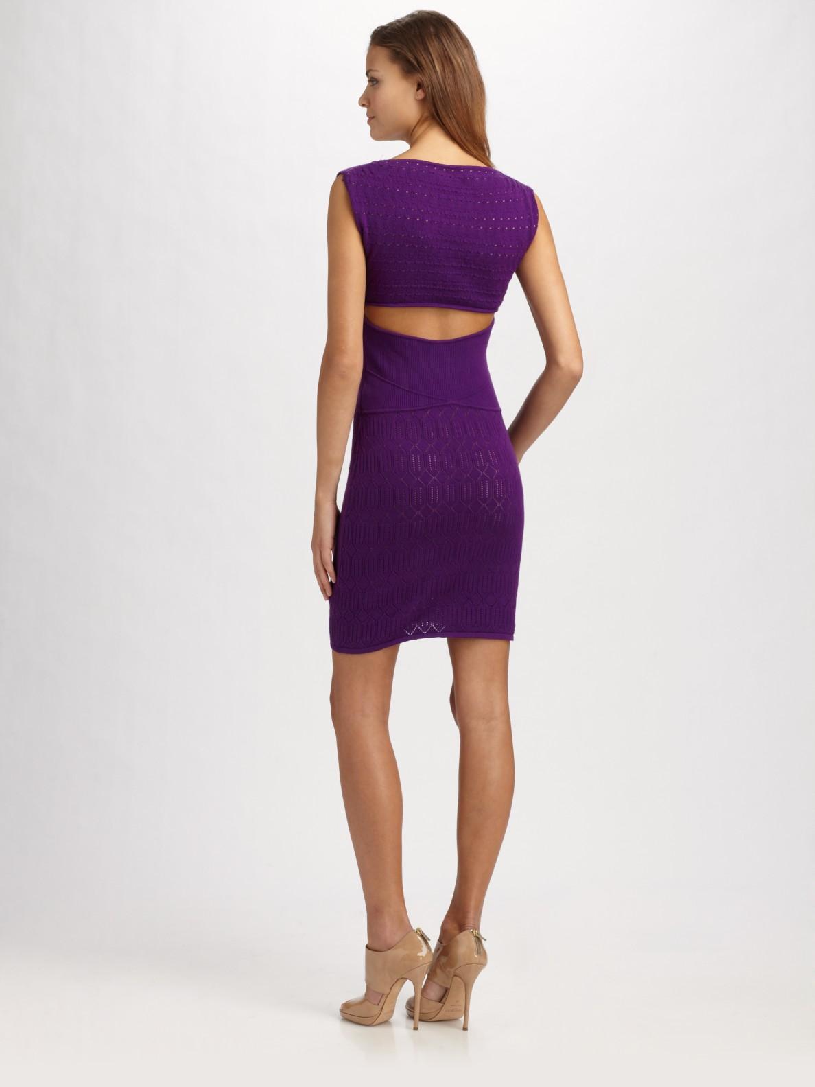 Lyst Catherine Malandrino Knit Cutout Dress In Purple