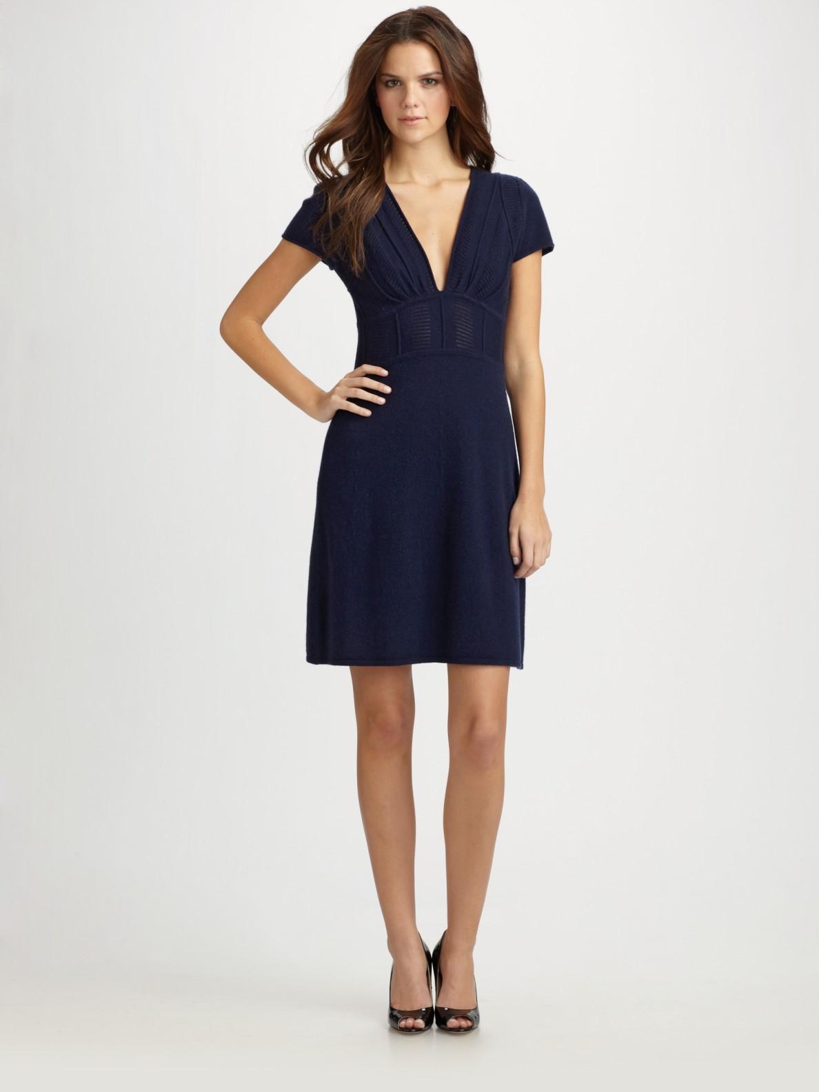 Lyst Catherine Malandrino Silk Chiffon Dress In Blue