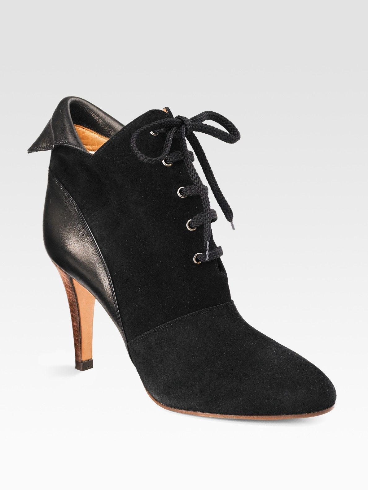 Chlo 233 Lace Up Suede Ankle Boots In Black Lyst