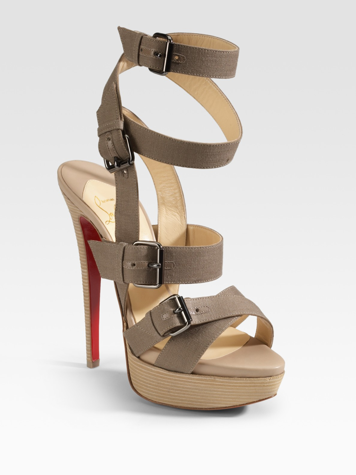 christian louboutin round-toe sandals Grey and brown canvas | The ...