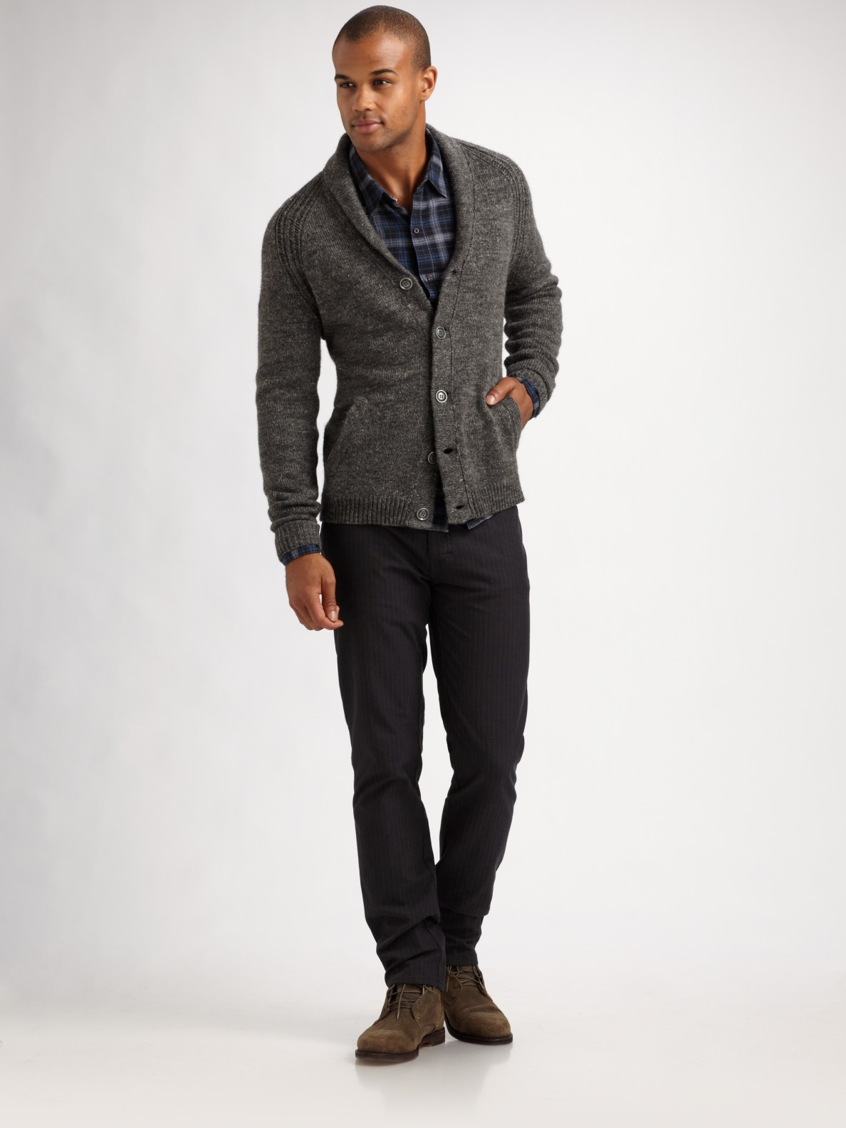 Converse Marled Shawl-collar Cardigan in Gray for Men   Lyst
