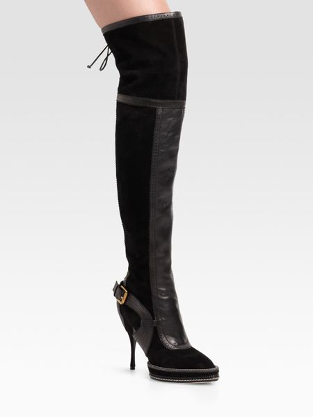 intrigante the knee suede leather boots in