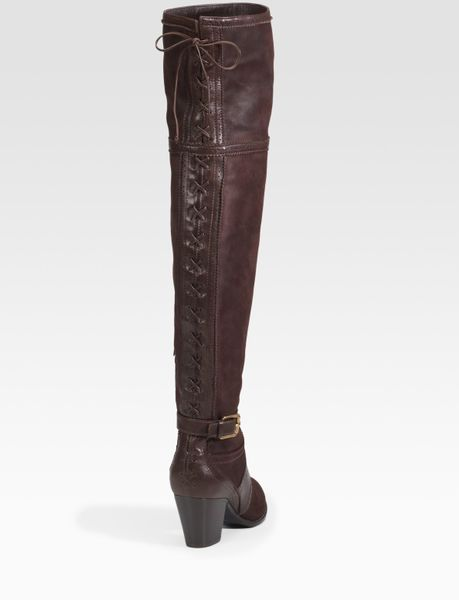 libertine thigh high suede leather boots in brown