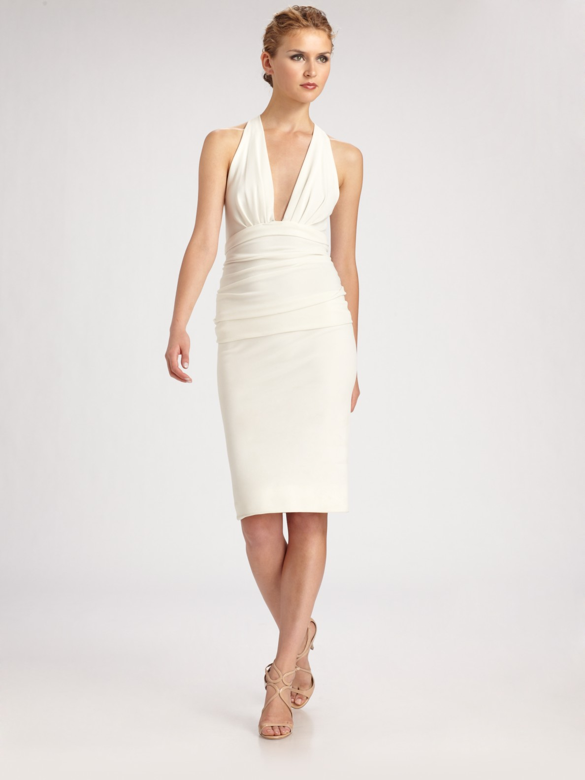 Lyst Donna Karan Crepe Jersey Halter Dress In White