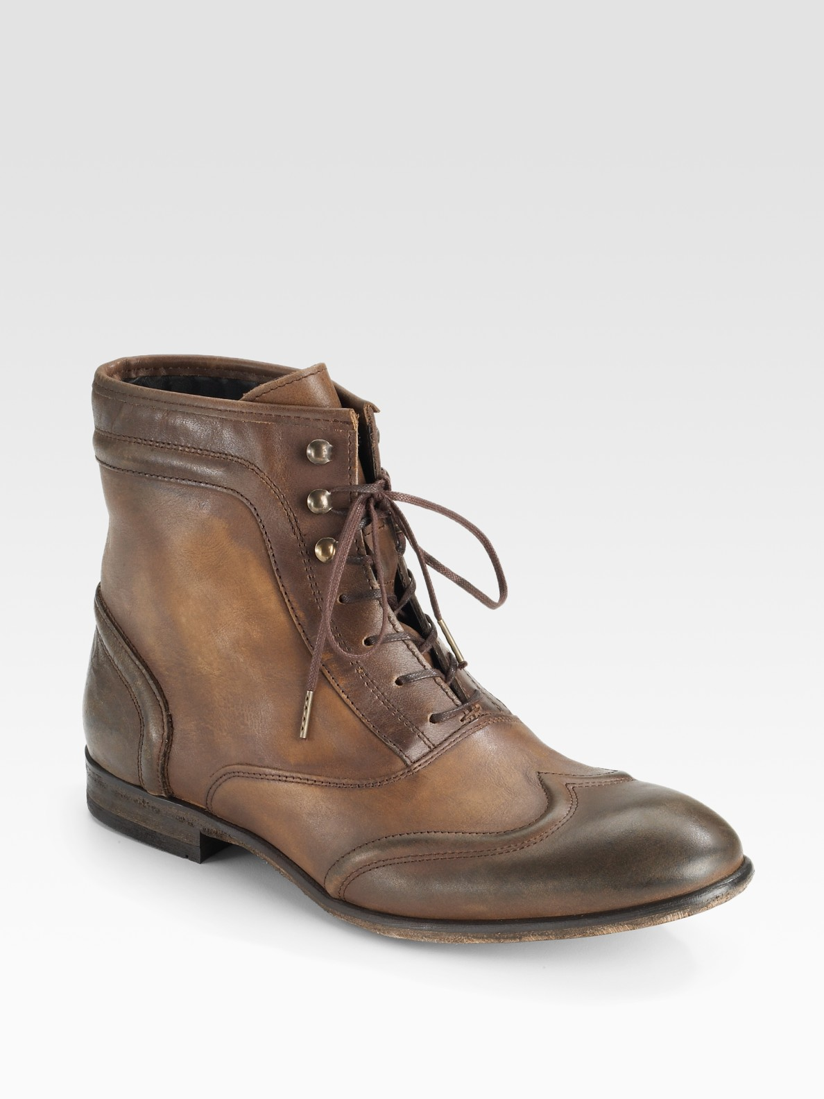 h by hudson lace up burnished ankle boots in brown lyst