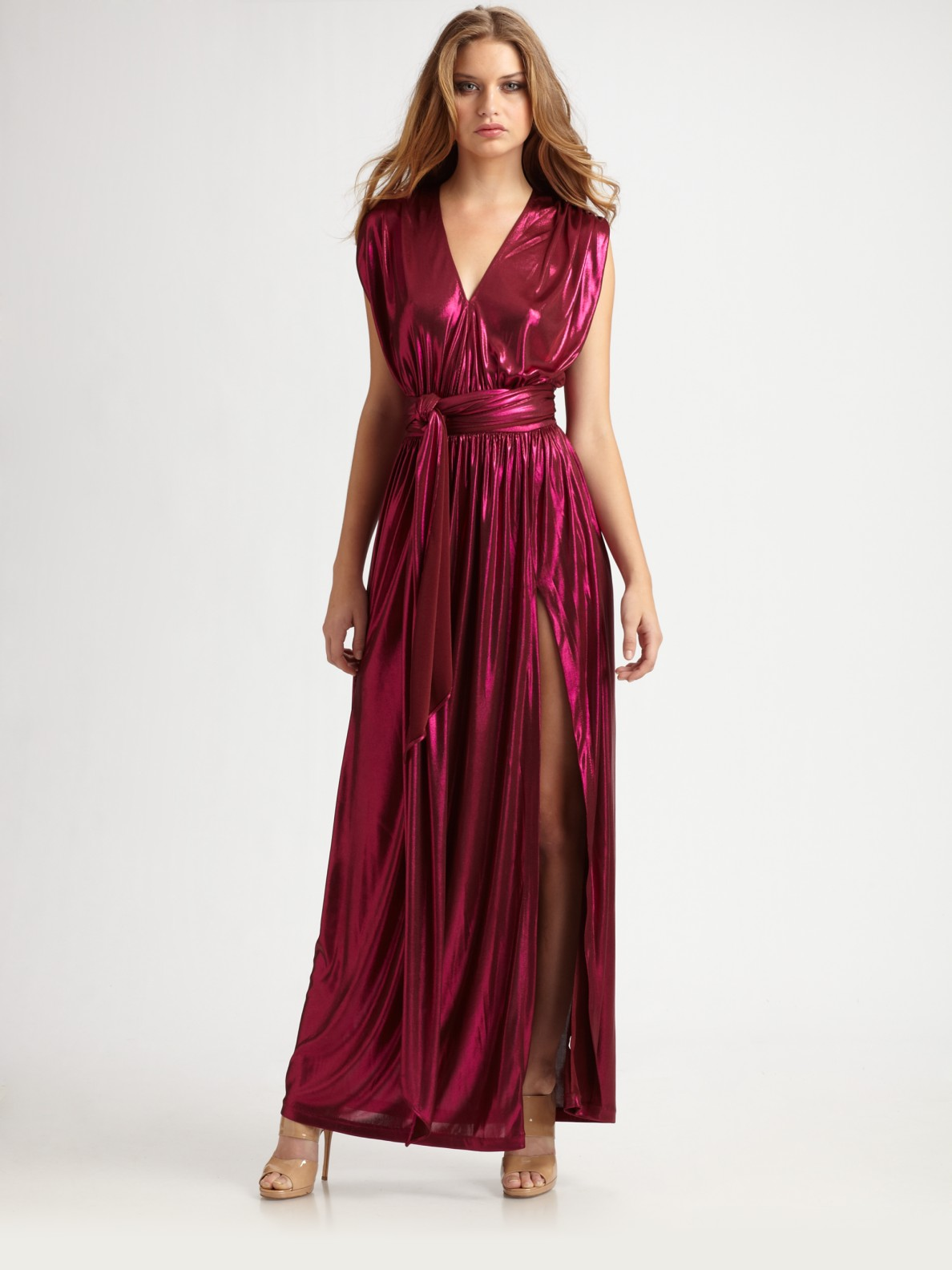 Halston Wrap Maxi Dress in Purple | Lyst