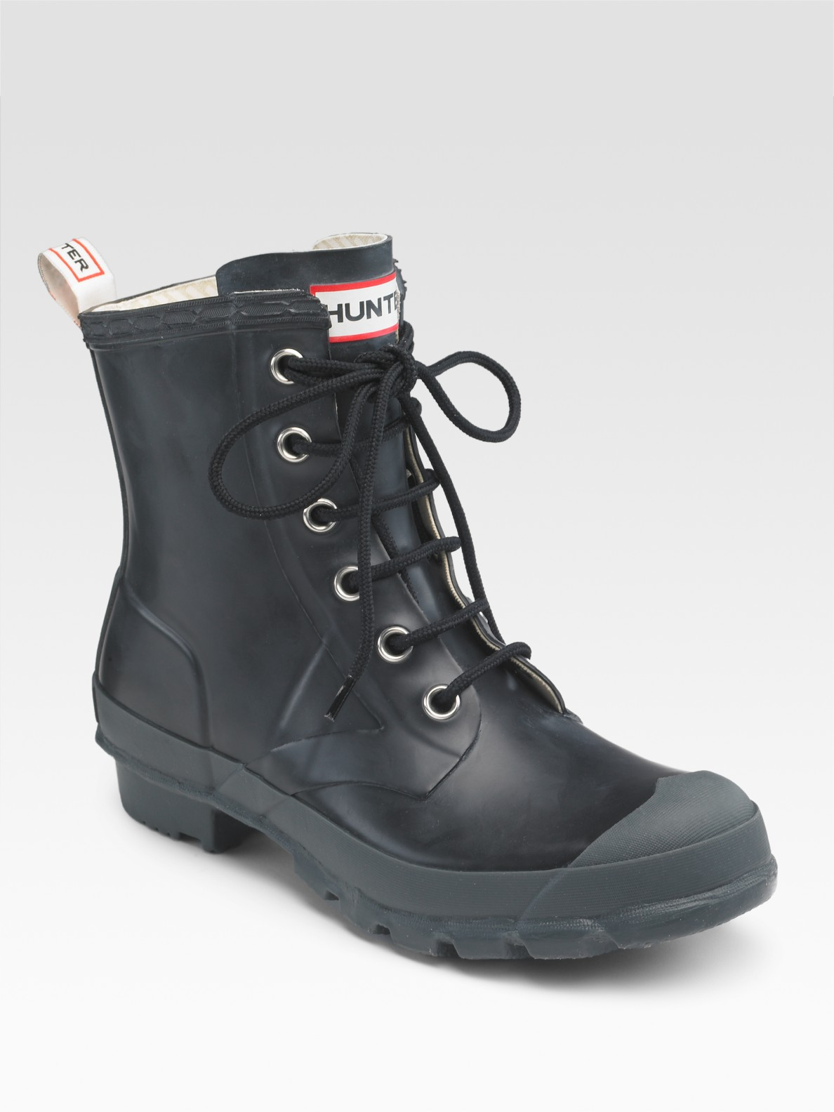 Hunter Rubber Combat Short Rain Boots In Black Lyst