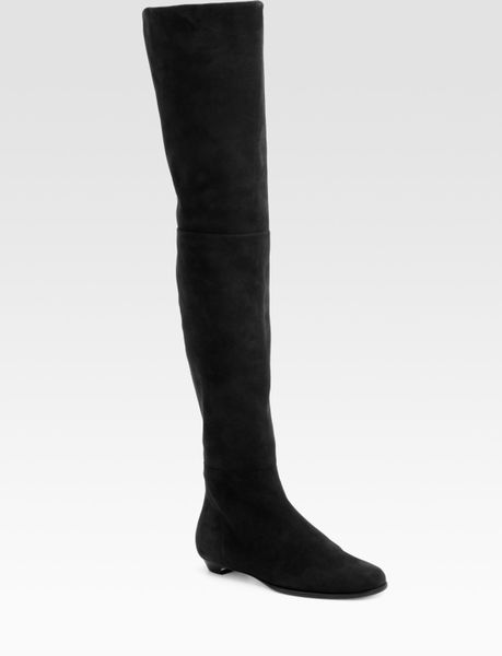 jimmy choo edna suede thigh high flat boots in black lyst