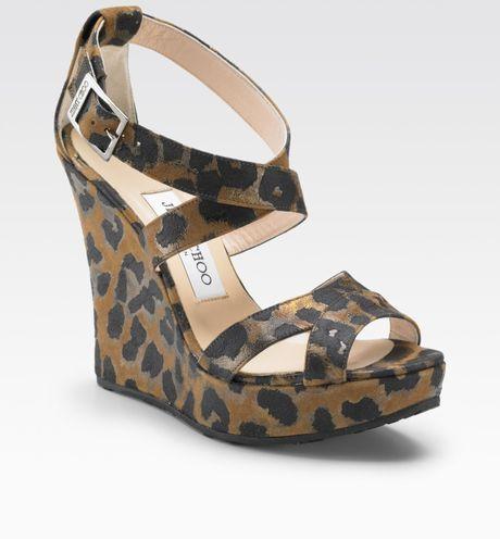 jimmy choo leopard print wedge sandals in black lyst