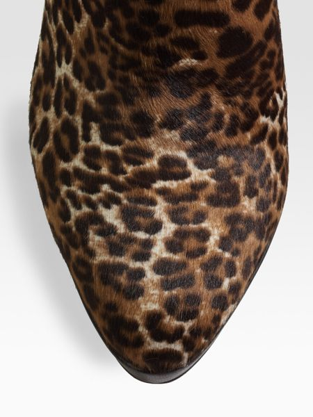 Jimmy Choo Alanis Leopard Print Calf Hair Ankle Boots In