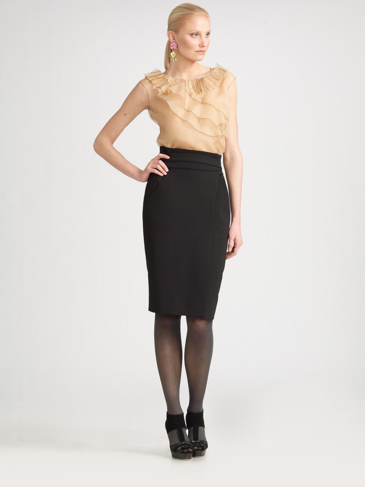 lyst oscar de la renta sleeveless silk organza blouse in natural. Black Bedroom Furniture Sets. Home Design Ideas