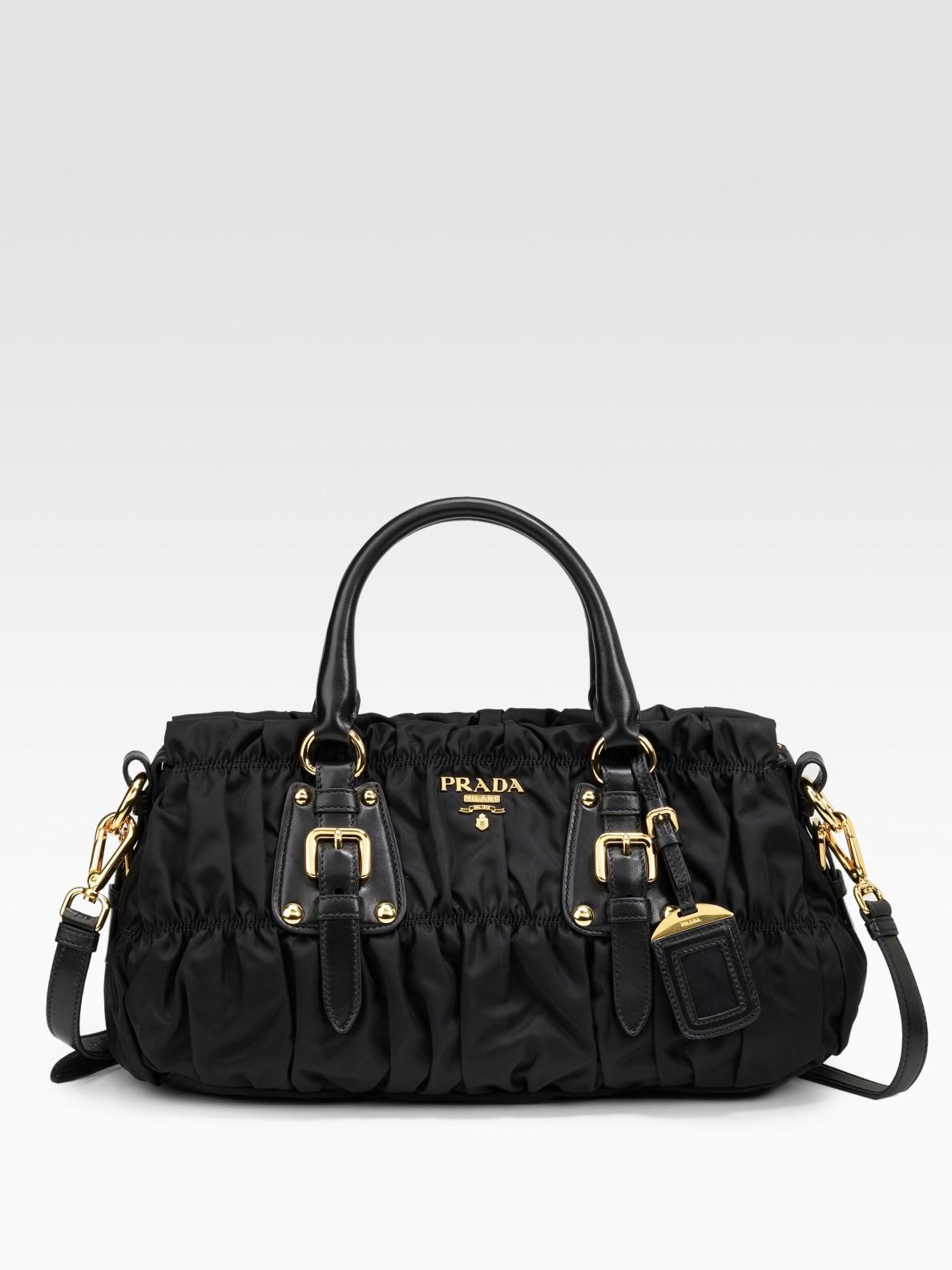 afe3f6a638be ... sale lyst prada tessuto gaufre top handle bag in black 94bac e21c2