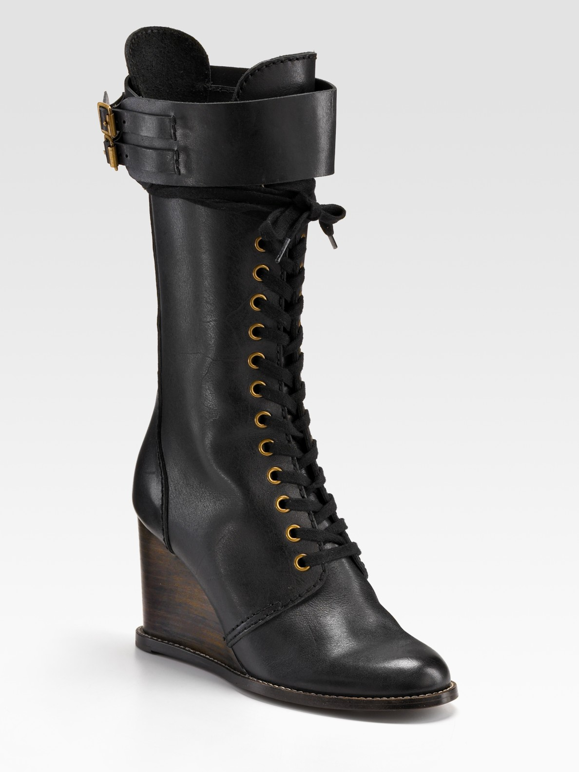 see by chlo 233 lace up wedge boots in black lyst