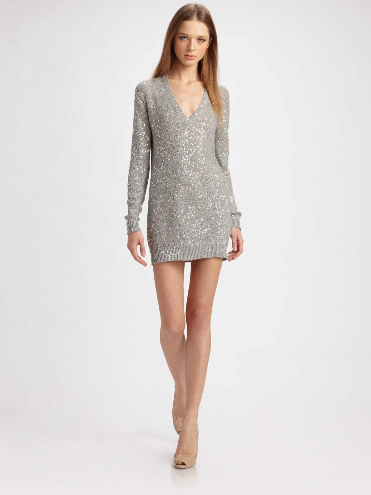 Sequin Gray V Stella Mccartney In Lyst Sweater Dress Neck 4Aq5jLR3