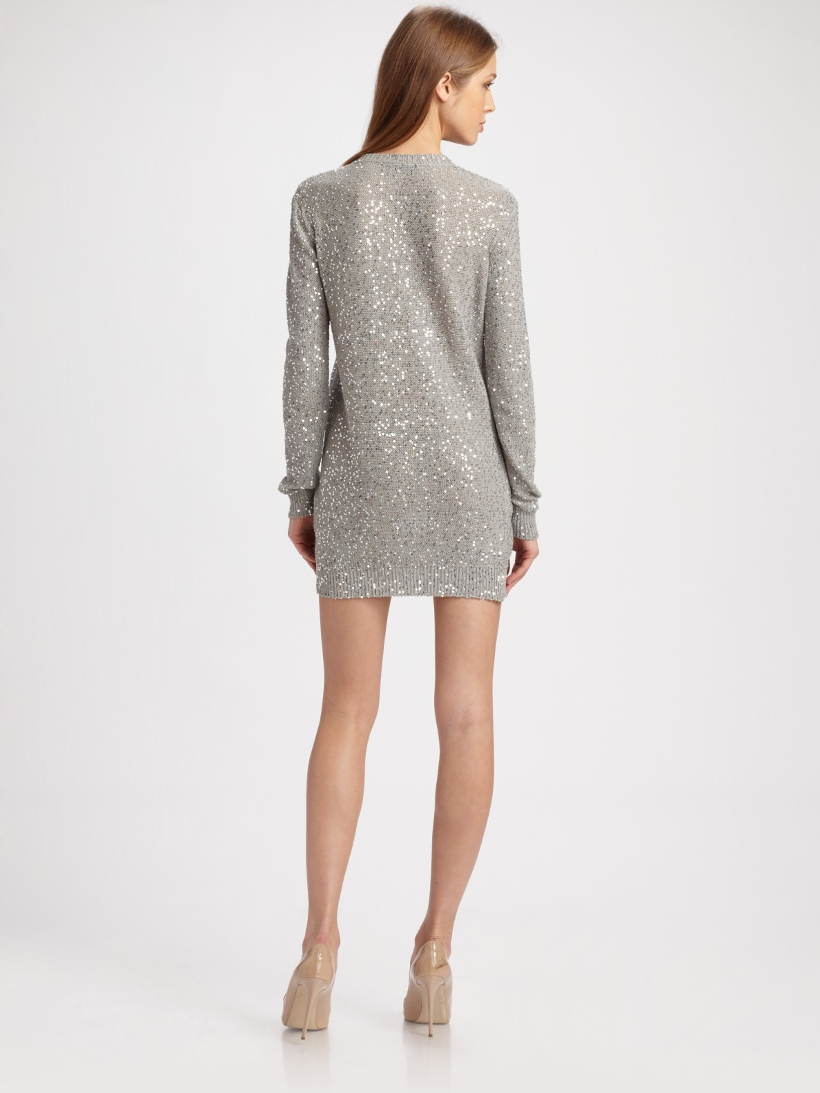 Stella mccartney Sequin V-neck Sweater Dress in Gray  Lyst