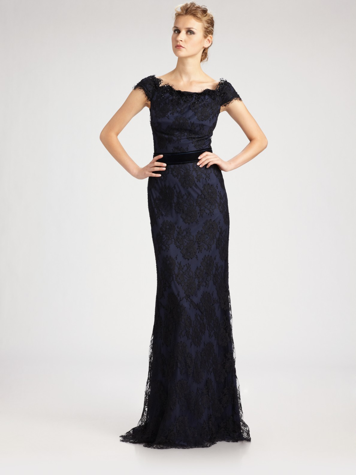 lace off the shoulder gown - Blue Tadashi Shoji Cheap Sale Fake Outlet With Paypal Order Online Footlocker For Sale Buy Cheap Eastbay Buy Cheap Shopping Online MJVdX