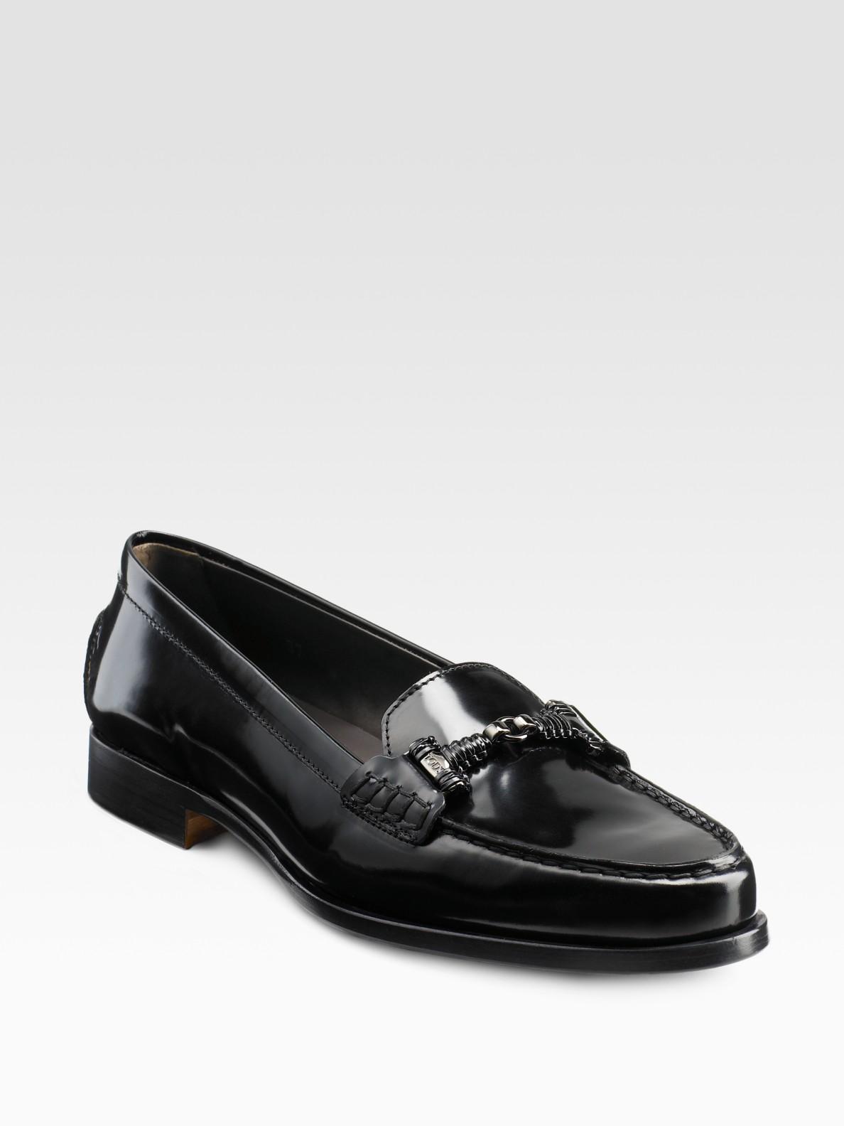 603cff8e47e Lyst - Tod s Citta Doppia Patent Leather Loafers in Black