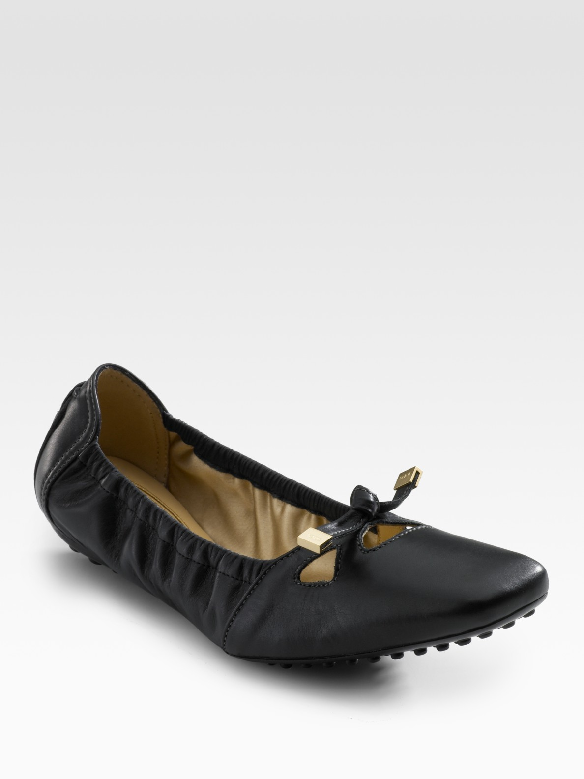 02cba1c8ff Tod's Degas Leather Ballet Flats in Black - Lyst
