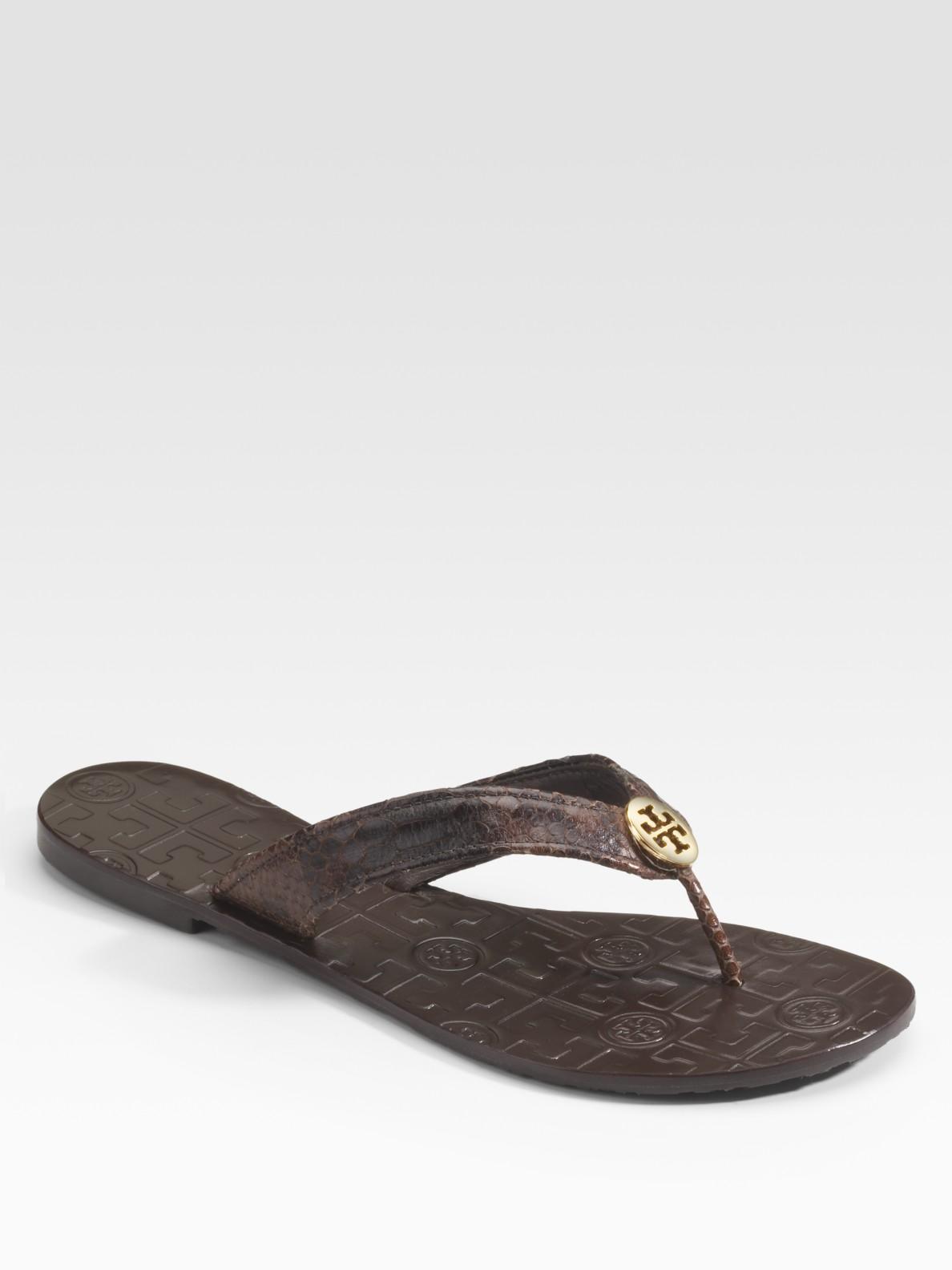 784403b7019b1 Lyst - Tory Burch Thora Snake-printed Leather Flip Flops in Brown