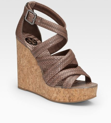 Tory Burch Jeanine Snake Printed Leather Wedge Sandals In