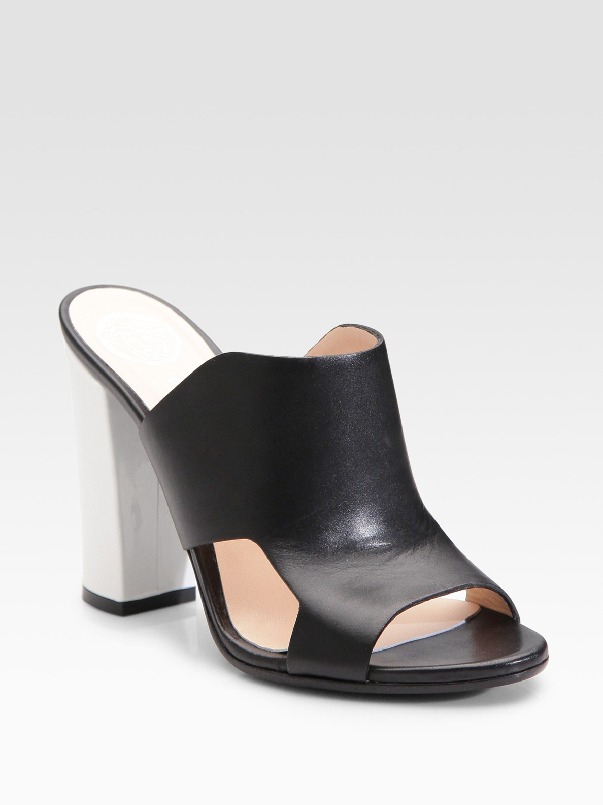Versace Cutout Mule Sandals in Black | Lyst