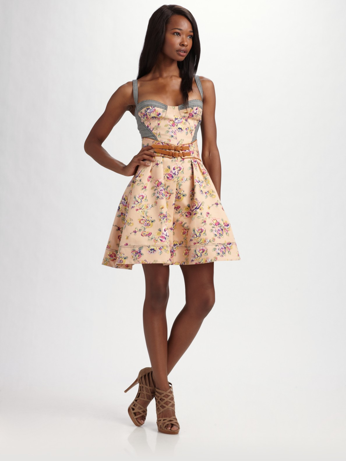 Discount Visit New Outlet Really Zac Posen Floral Print Silk Dress From China Online VCw21Rd