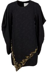3.1 Phillip Lim Barogue Beaded Drape Long Sleeve Dress in Black - Lyst
