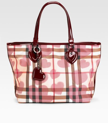 burberry check heart diaper tote in brown berry lyst. Black Bedroom Furniture Sets. Home Design Ideas