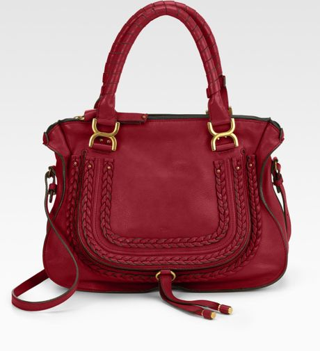 Chloé Marcie Medium Leather Top Handle Bag in Red (RUBY) - Lyst