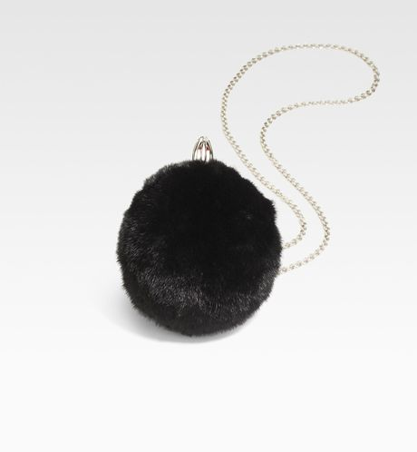 Christian Louboutin Eden Vision Fur Ball Clutch in Black - Lyst