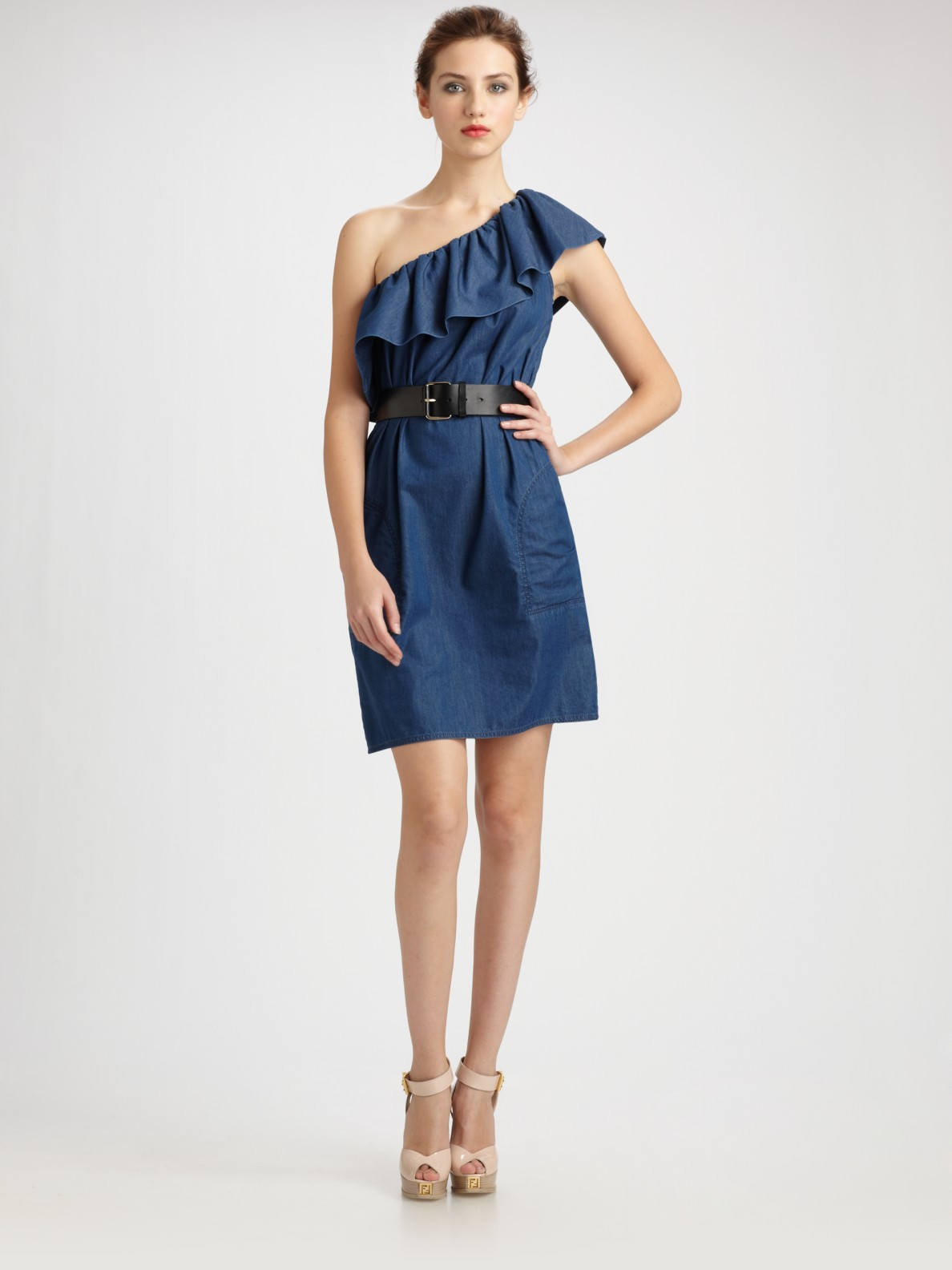 Boutique moschino Denim Ruffle One Shoulder Dress in Blue | Lyst