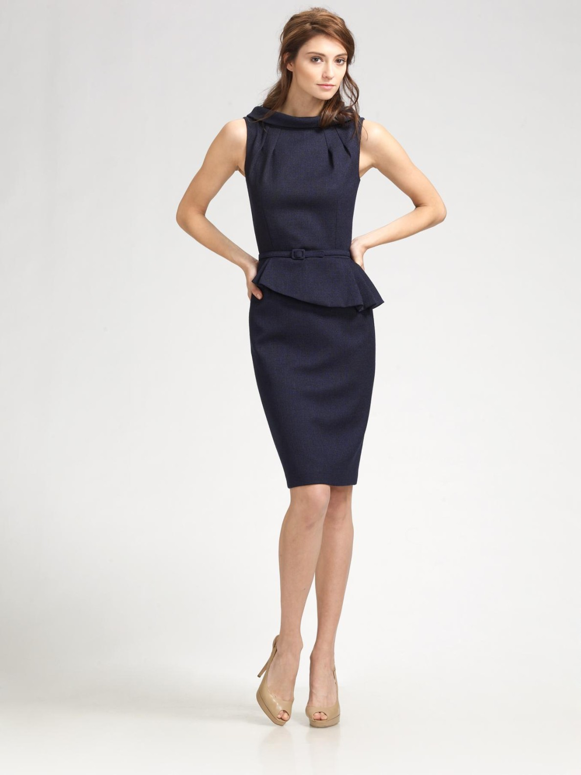 fe9918de6d Lyst - David Meister Pleated Peplum Dress in Black