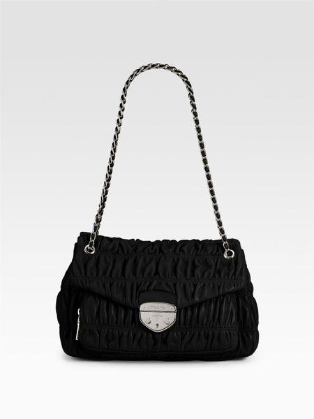 Prada Nappa Gaufre Black Shoulder Bag 40