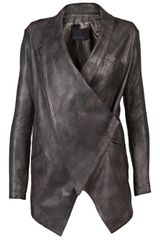 Yigal Azrouel Leather Blazer in Gray (grey) - Lyst