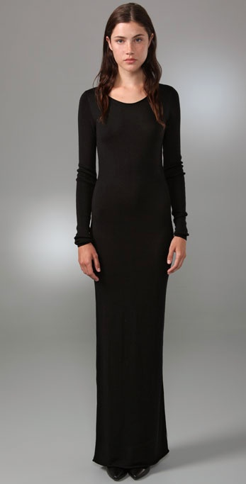 T by alexander wang Fitted Long Sleeve Maxi Dress in Black | Lyst