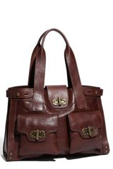 Tarnish Turnlock Flap Pocket Leather Shopper - Lyst