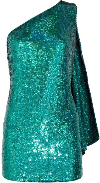 Ashish Sequined Silk One-shoulder Dress - Lyst