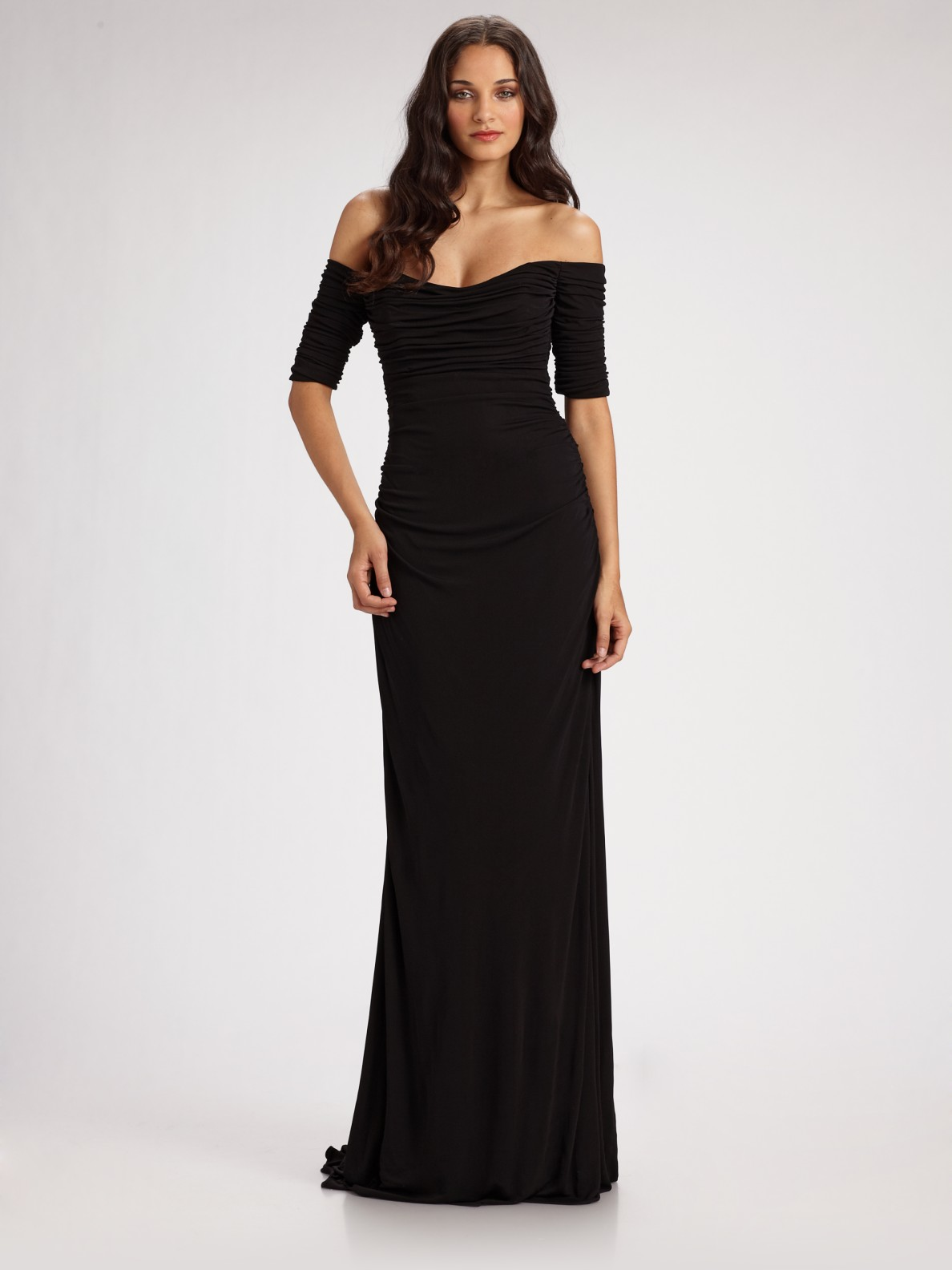 Lyst Badgley Mischka Off The Shoulder Ruched Jersey Gown