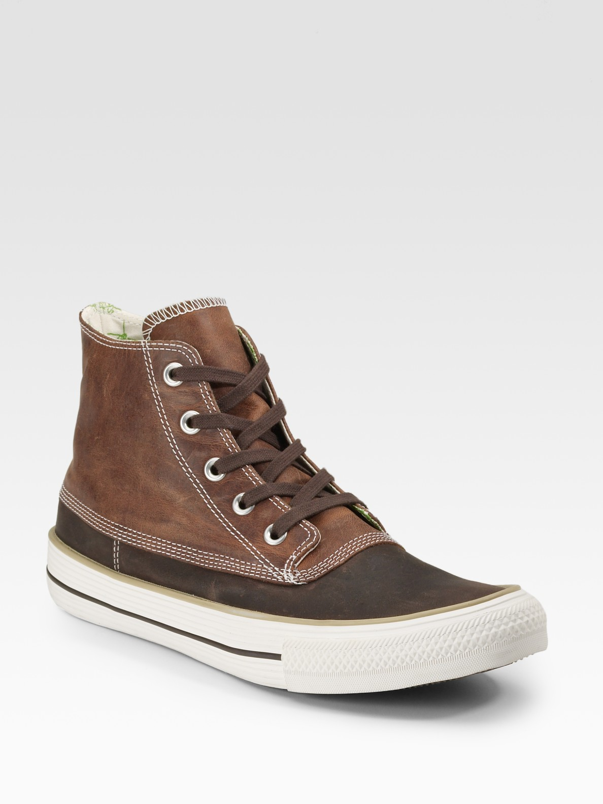 converse chuck leather duck ankle boots in brown